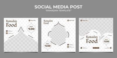 Ramadan food sale social media post template vector