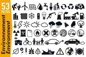 Pictogramas de señalización sobre medio ambiente y ecología. vector