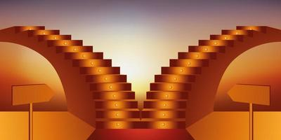 Two Staircases Indicate Opposing Professional Orientations. vector