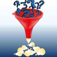 Questions Turn Into Ideas Crossing a Funnel. vector