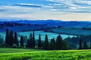 Sunrise over curvy hills in Tuscany photo