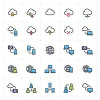 Network and Connectivity line with color icons. Vector illustration on white background.