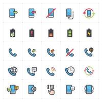 Phone and Calling line with color icons. Vector illustration on white background.