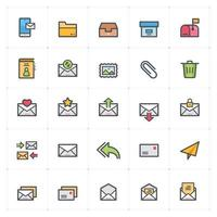 Email and Letter line with color icons. Vector illustration on white background.