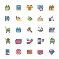 Shopping and Commerce line with color icons. Vector illustration on white background.