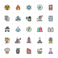 energía y línea eléctrica con iconos de colores. Ilustración vectorial sobre fondo blanco. vector
