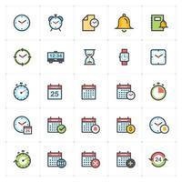 línea de tiempo y programación con iconos de colores. Ilustración vectorial sobre fondo blanco. vector