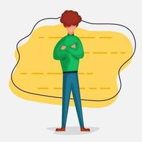 Employee with arms crossed, who is ready to work concept. illustration in flat style vector