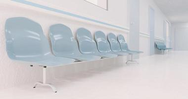 Waiting chairs in a hospital corridor photo