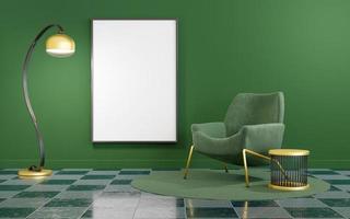interior minimalista verde y dorado con maqueta de marco foto