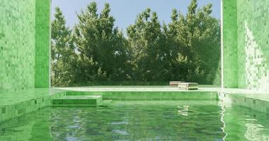 Green tiled indoor pool with large window and pine trees behind