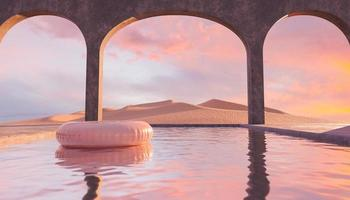 Desert pool with concrete arches and float photo