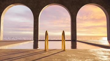 Swimming pool with sea views and golden stairs with arches photo