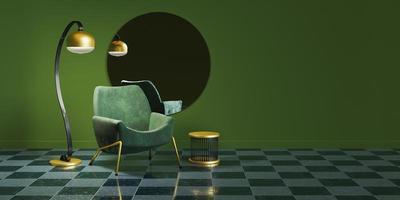 Interior minimalista con detalles dorados, espejo redondo, lámpara y sofá. foto