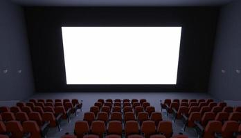 Movie theater with a blank screen photo