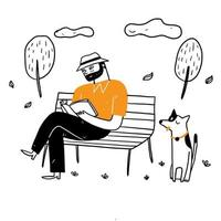 The old man sitting on the park chair vector