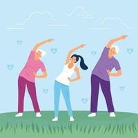 Happy family exercising together at the park. Family sport activity concept. vector