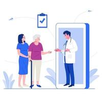Online medical service concept. Male doctor giving advice to older patient via mobile application on smartphone. Flat character vector illustration.