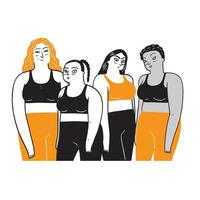 A group of women who are diverse in ethnicity and skin color. vector