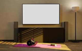 Mockup of a television at home with a small makeshift gym photo