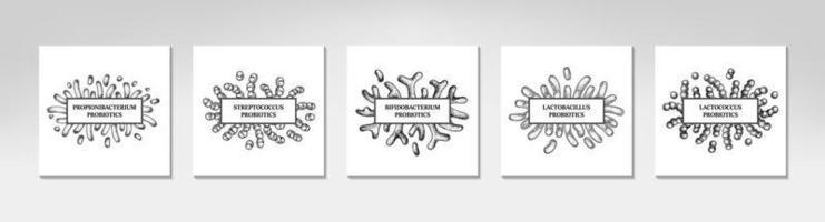 Set of hand drawn probiotics frames. Design for packaging and medical information. Vector illustration in sketch style