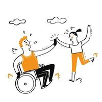 A handicapped man sitting in wheelchair high fives a girl vector
