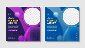 Creative business agency square banner template vector