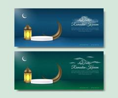 Blue and green Ramadan banner template vector
