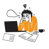 Illustration of a businessman working remotely. Emotional regret or sadness concept. vector