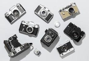 Vintage photo cameras arrangement