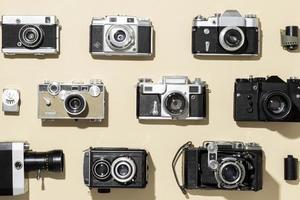 Vintage photo cameras arrangement