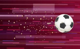 Soccer ball flying forward with confetti, vector