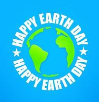 Happy Earth Day 22 of April vector banner with Earth map