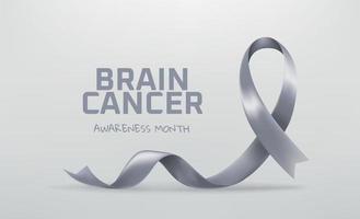 Brain Cancer Awareness month symbol. Grey awareness ribbon vector