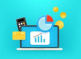 trabajar con dinero a través de internet. Ilustración de vector lindo estilo 3d