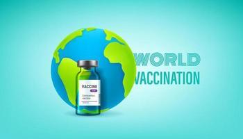 vial de vidrio de vacuna y la tierra. concepto de vacunación mundial vector