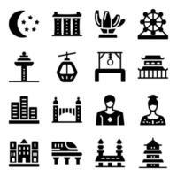 Singapore Culture Elements vector