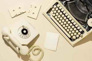 Vintage cream telephone flatlay photo
