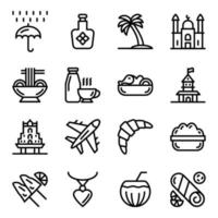 Singapore Cuisines and Landmarks vector