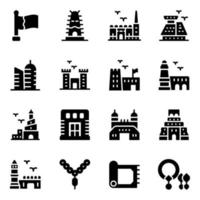 Qatar Landmarks Elements vector