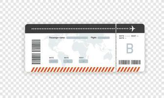 vuelo, papel, tarjeta de embarque, vector, maqueta, aislado vector