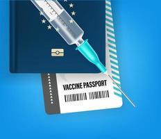 concepto de pasaporte de vacunación. Ilustración de vector de estilo 3d
