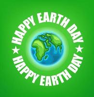 Happy Earth Day 22 of April vector banner with cute Earth map