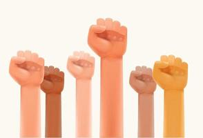 Interracial fists up in the air. Strike or human power concept vector