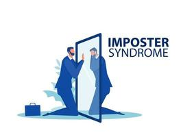 Imposter syndrome. Businessman looking at mirror with fear shadow behind. Mental Health Problems, Anxiety and lack of self confidence at work Vector Illustration
