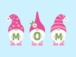 Tres gnomos sosteniendo la palabra mamá en el ilustrador de vectores del día de la madre.