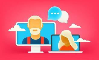 Online dialog via internet. Online chat concept vector