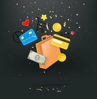 concepto de adicto a las compras. bolsa de compras, tarjetas de crédito y dinero cayendo. Linda ilustración de estilo 3d vector