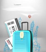 viajes de verano en covid. concepto con equipaje, cámara, máscara protectora. verano 2021 vector