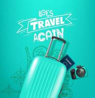 Travel illustration with travel staff and logo vector